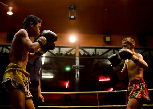 Muay Thai match between two kids