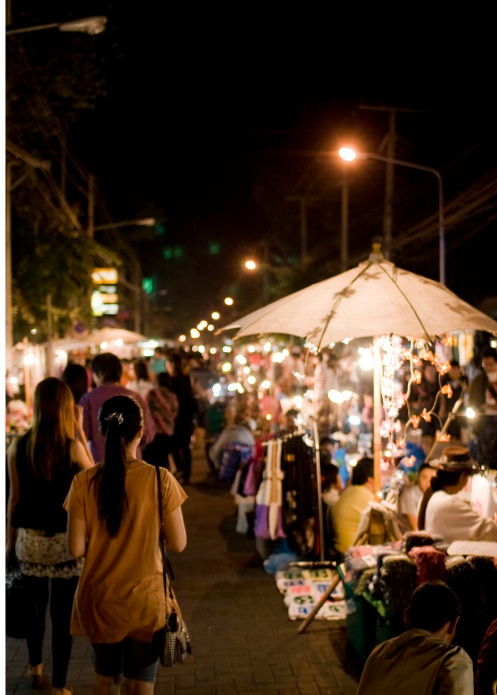Shot of the Sunday Walking Street, Chiang Mai