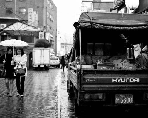 Rain, and veggies for sale