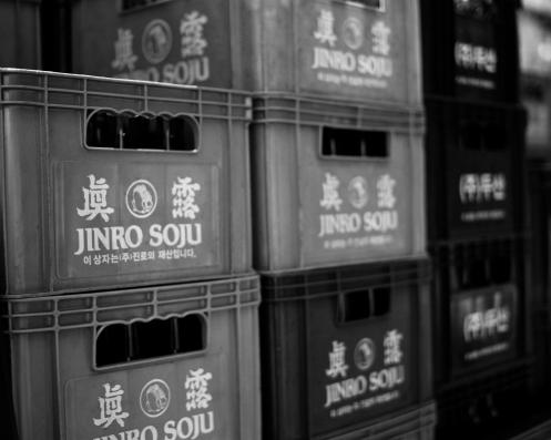 Jinro soju, plenty.