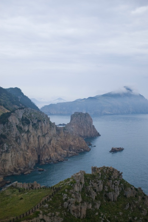 Coastal cliffs and surrounding islands